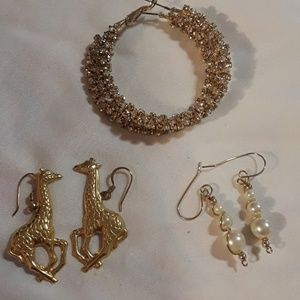 A bundle of 3 beautiful costume earrings.